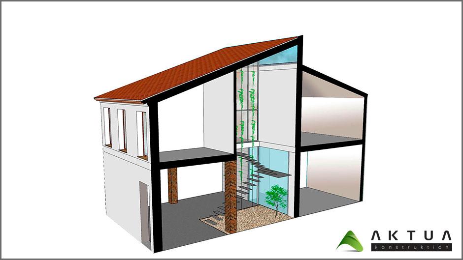 Casa bioclim tica castell n 2 una escalera y un jard n for Construccion de casas bioclimaticas